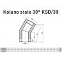 Kolano stałe dwuścienne żaroodporne 130/225 0,8 mm